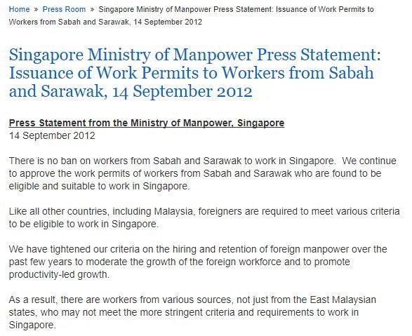 Kenyataan Rasmi MFA berkenaan Larangan Kerja Singapore
